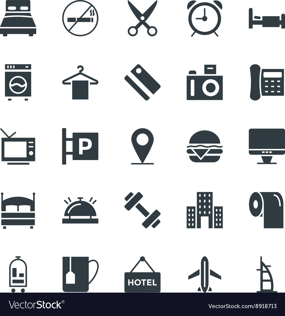 Hotel and restaurant cool icons 1 vector
