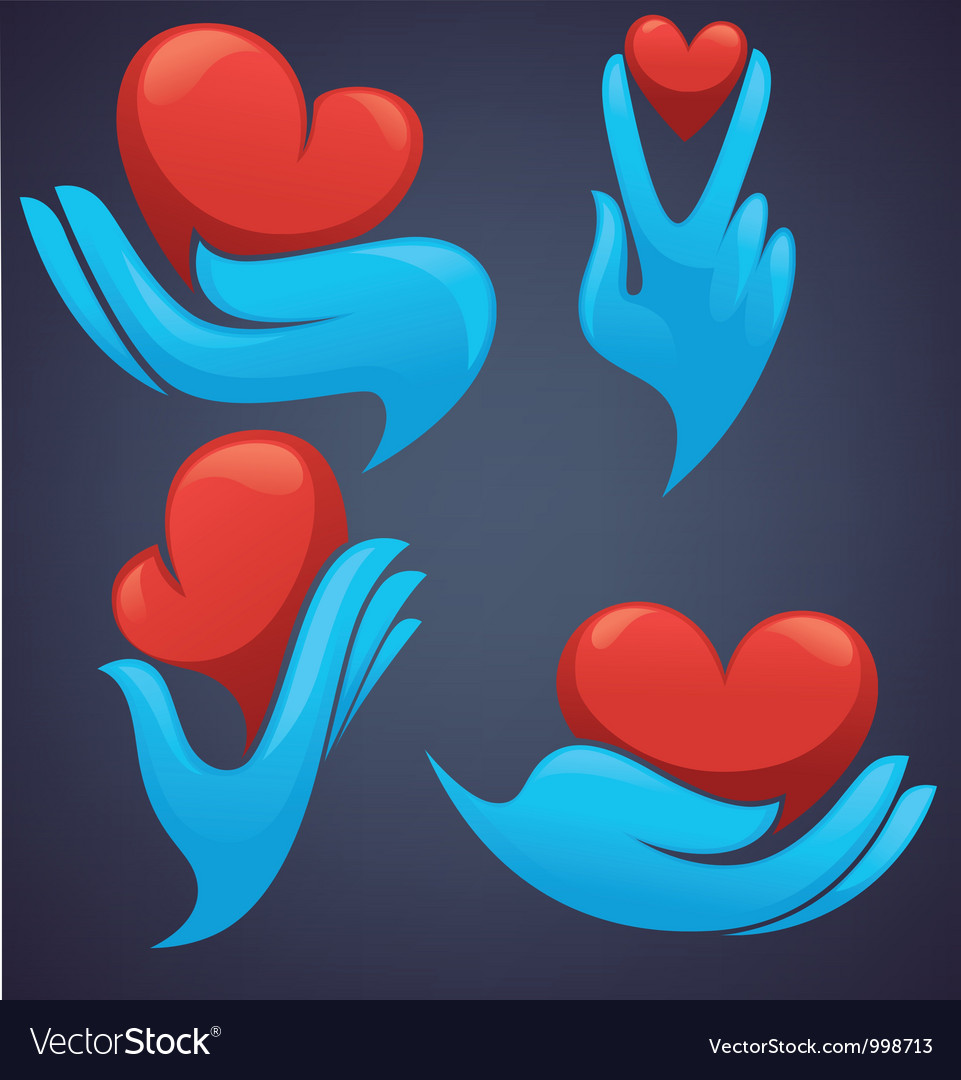 Human hands and decorative heart vector