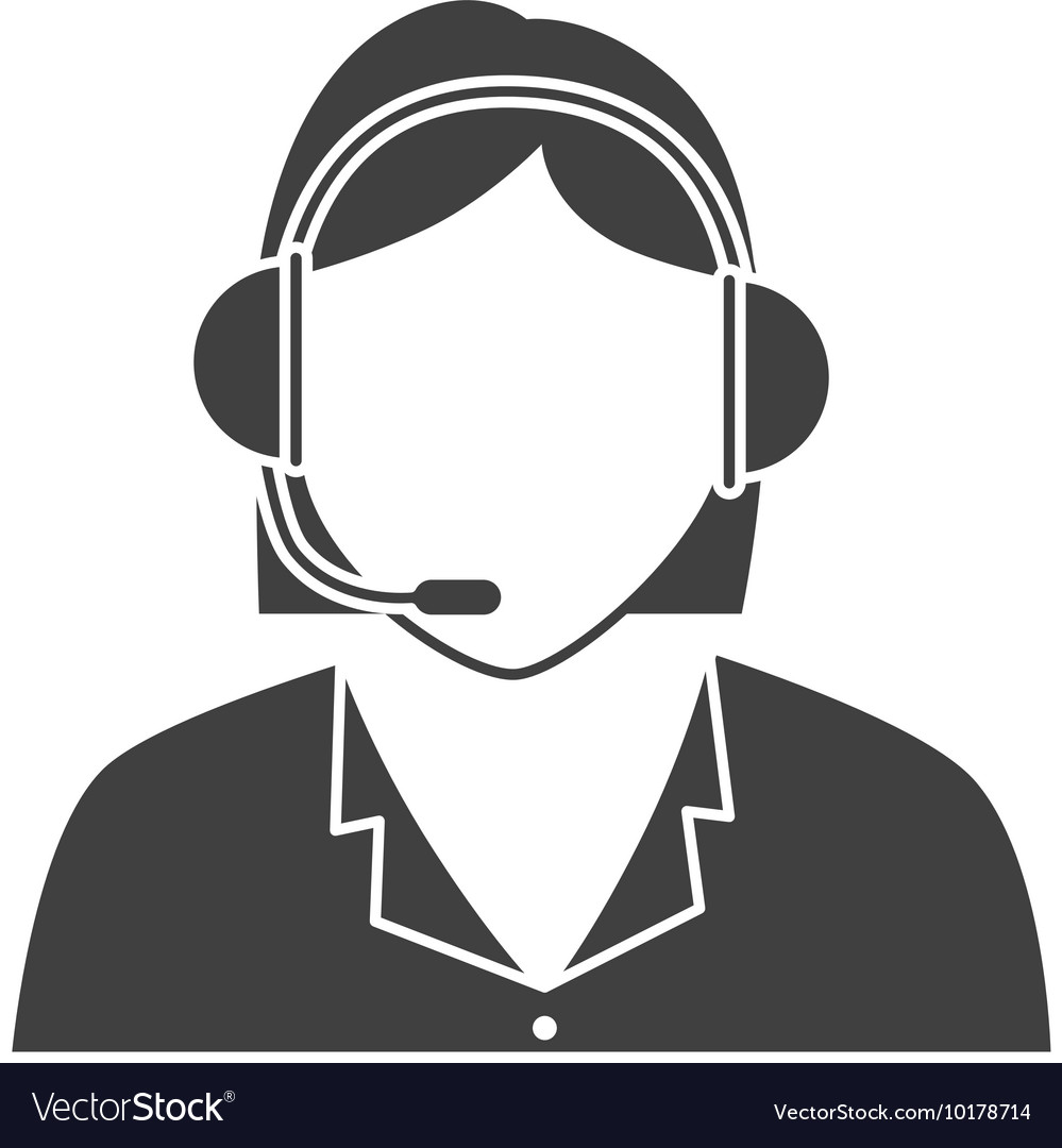 Call center woman headset icon vector