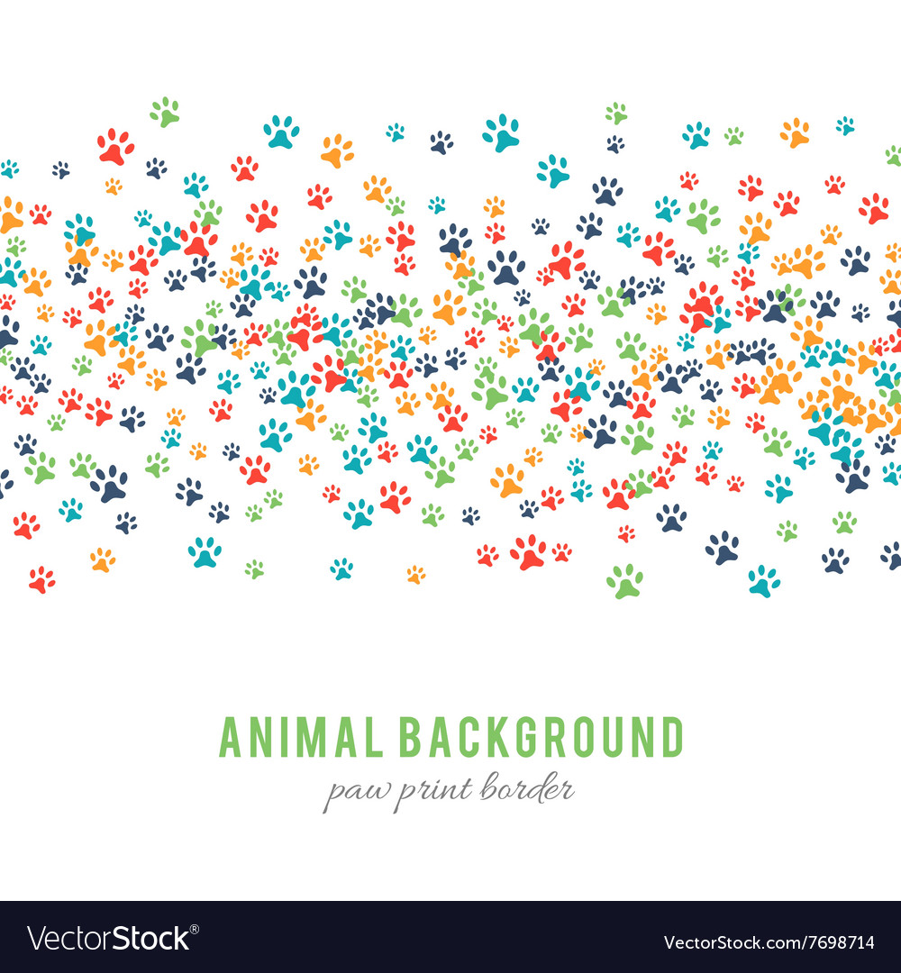 Colorful dog paw prints background isolated on vector