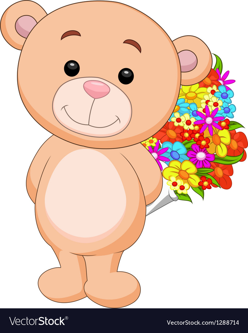 Cute bear cartoon holding flower bucket vector