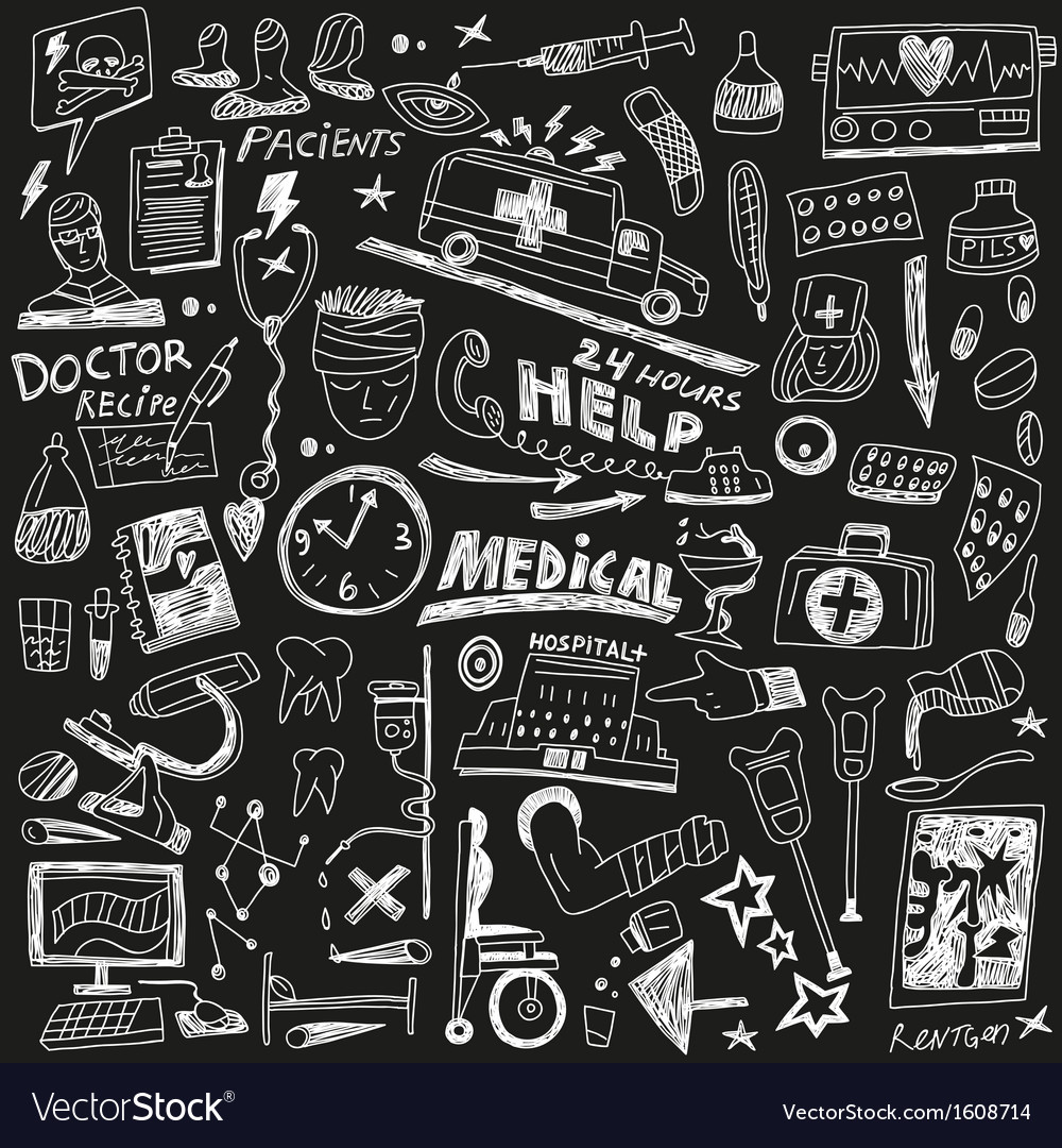 Medicine  doodles set vector