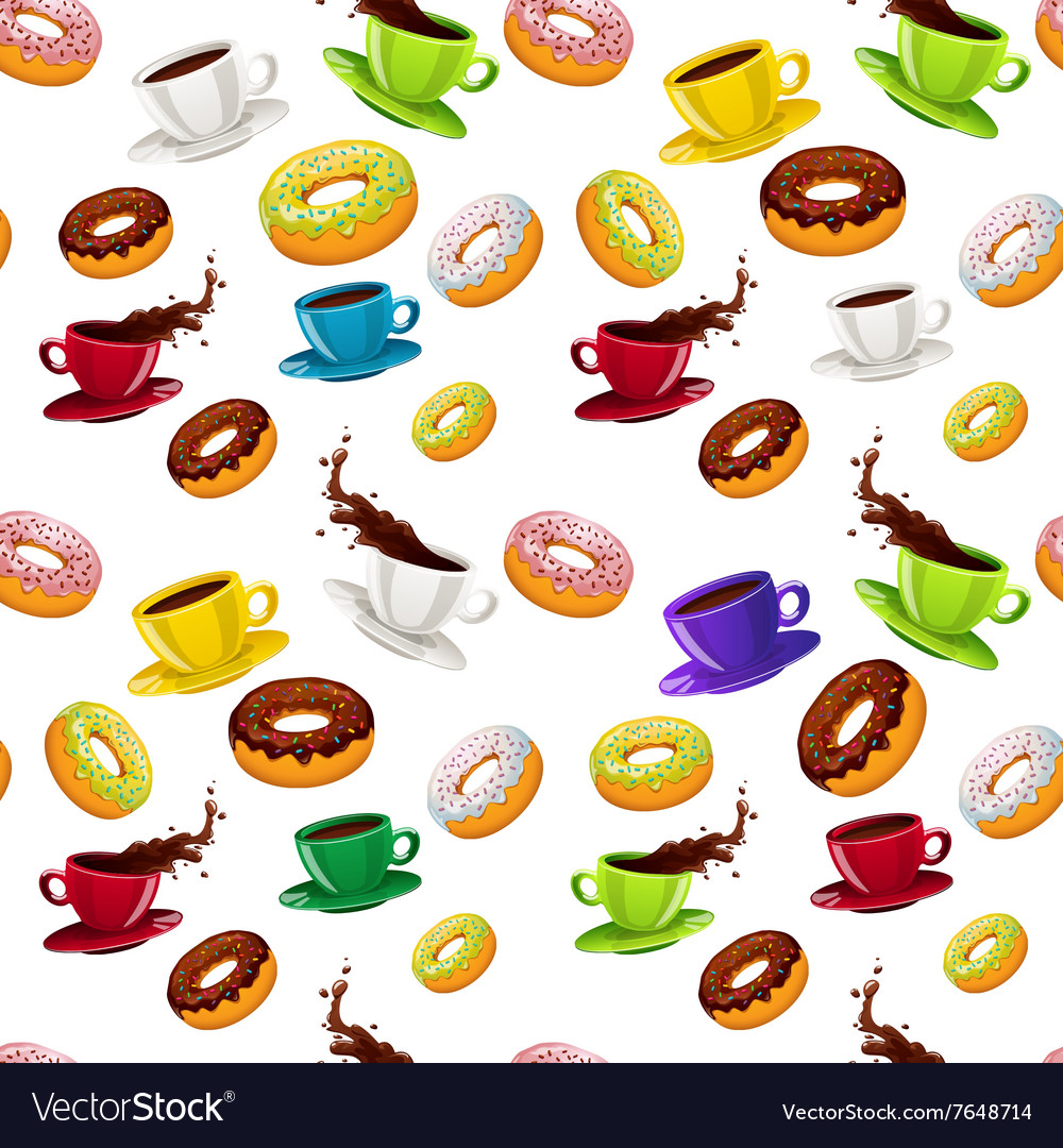 Seamless pattern with donuts and coffee vector