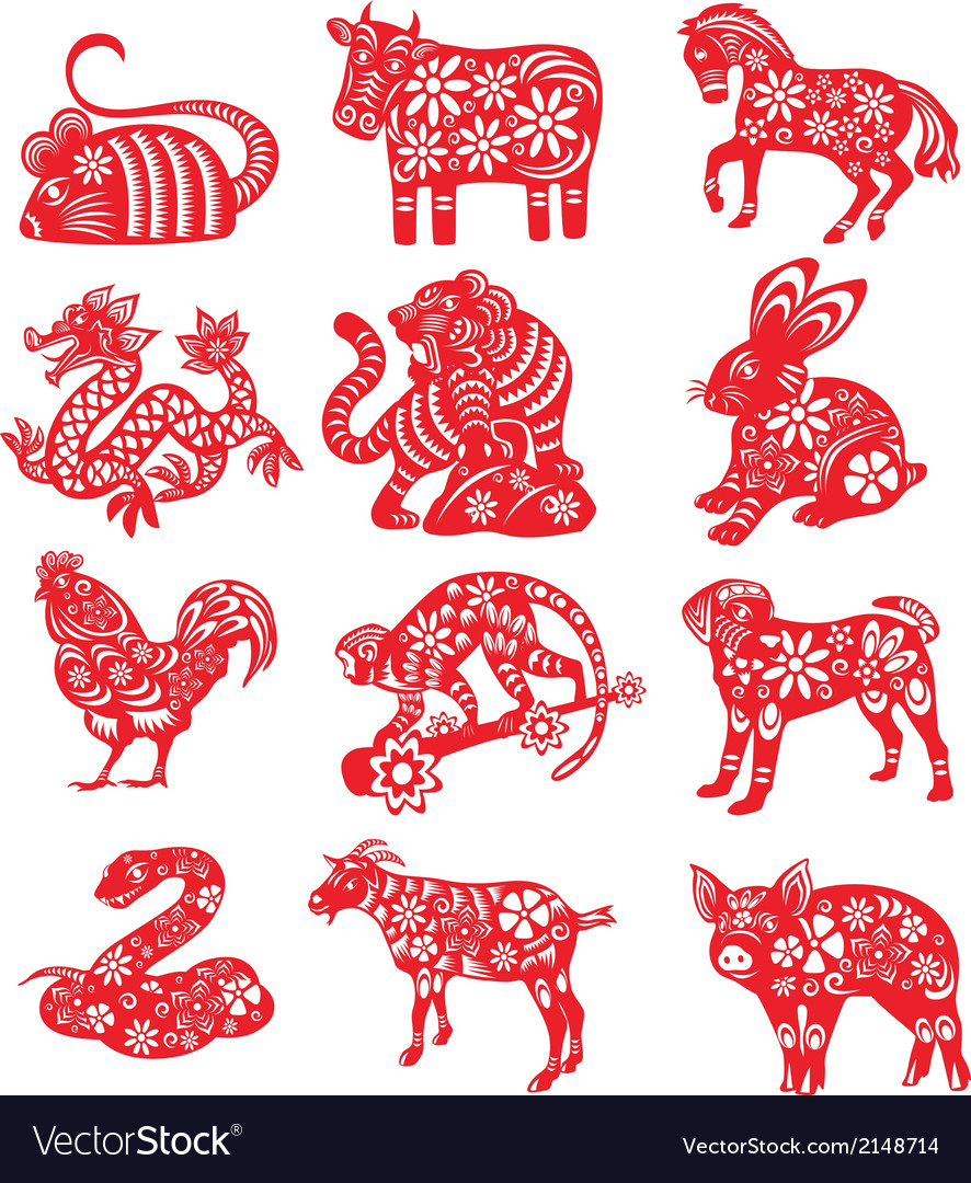Twelve chinese zodiac paper cut vector