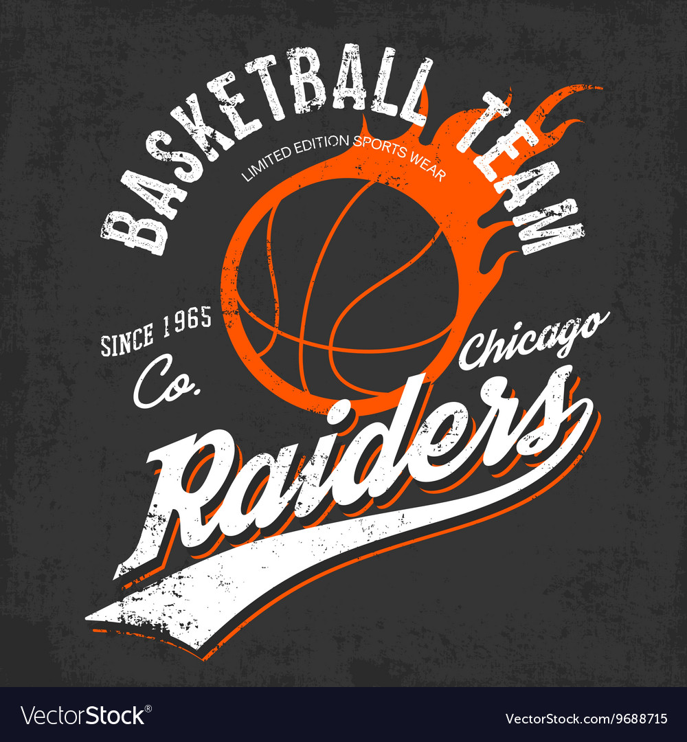 Raiders basketball team logo for sportwear vector