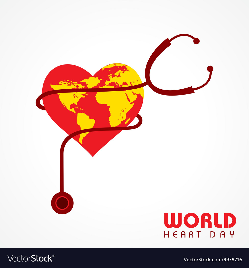 Creative world heart day greeting stock vector