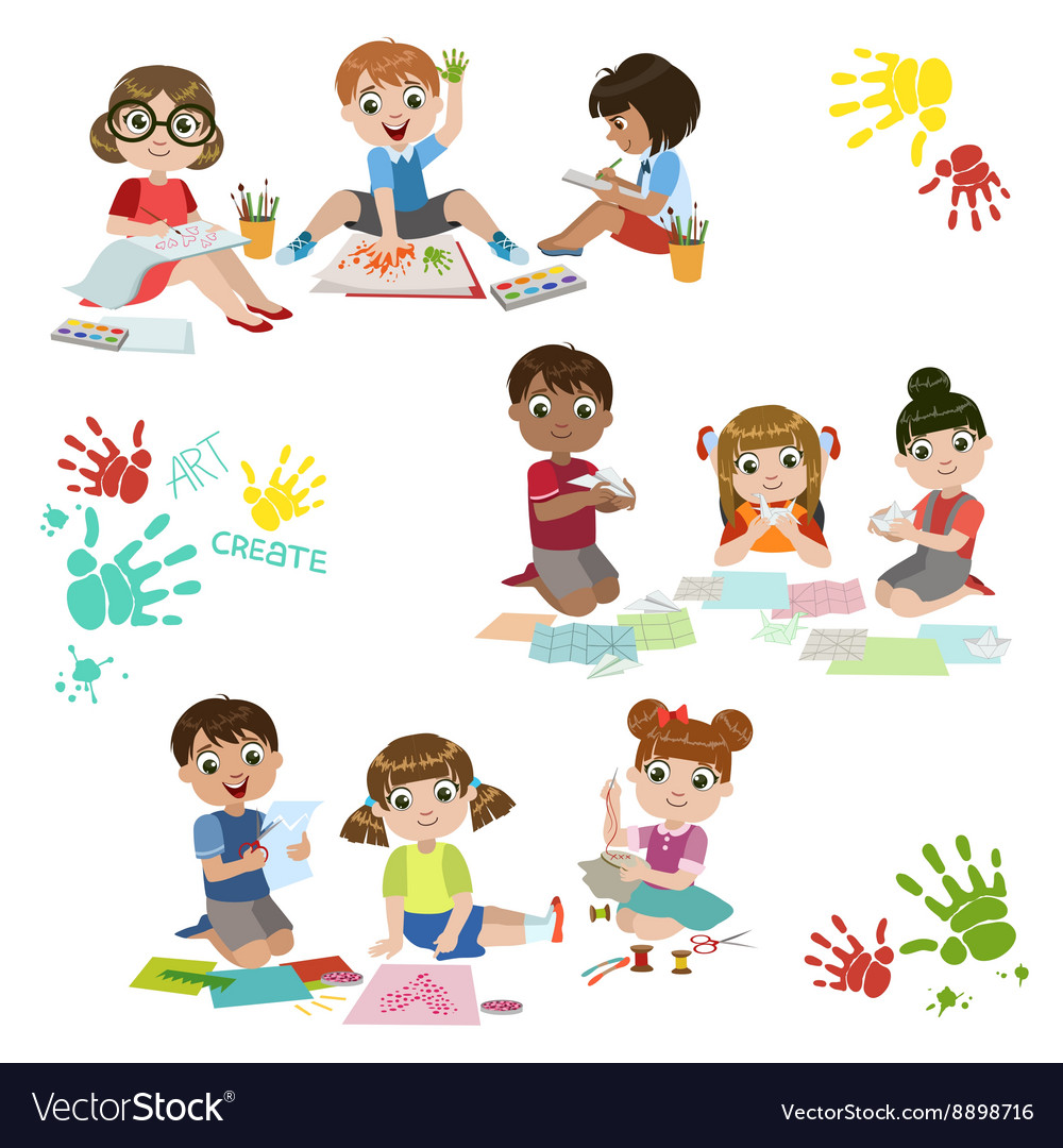 Kids creativity practice vector