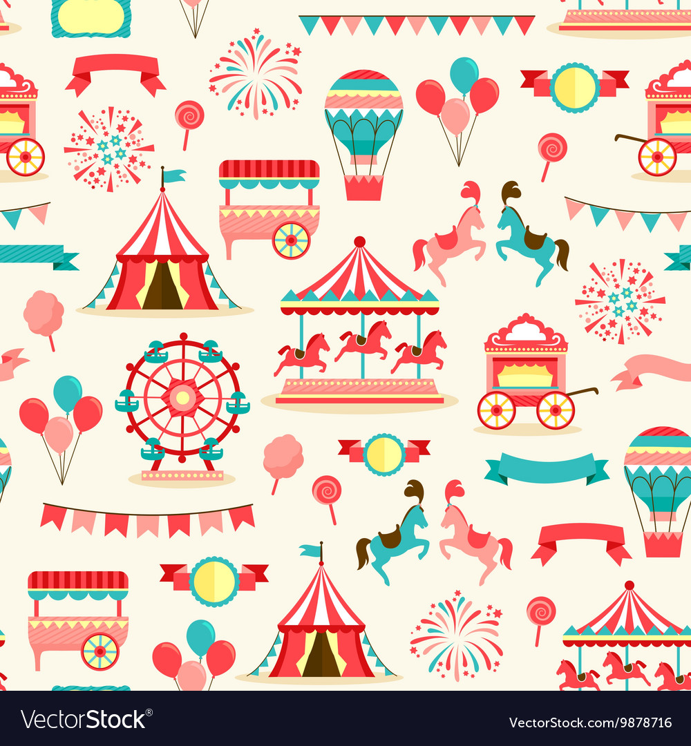 Seamless pattern  vintage carnival vector
