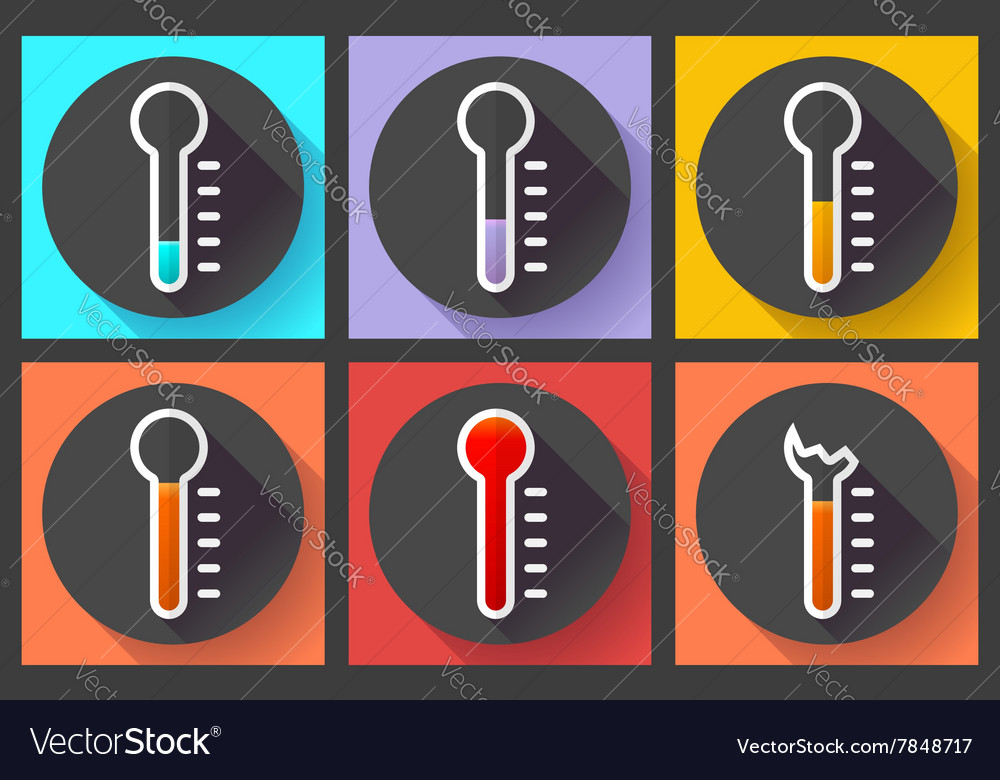 Mometer icon set high temperature symbol vector