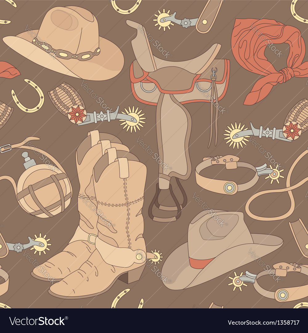 Seamless cowboy pattern vector