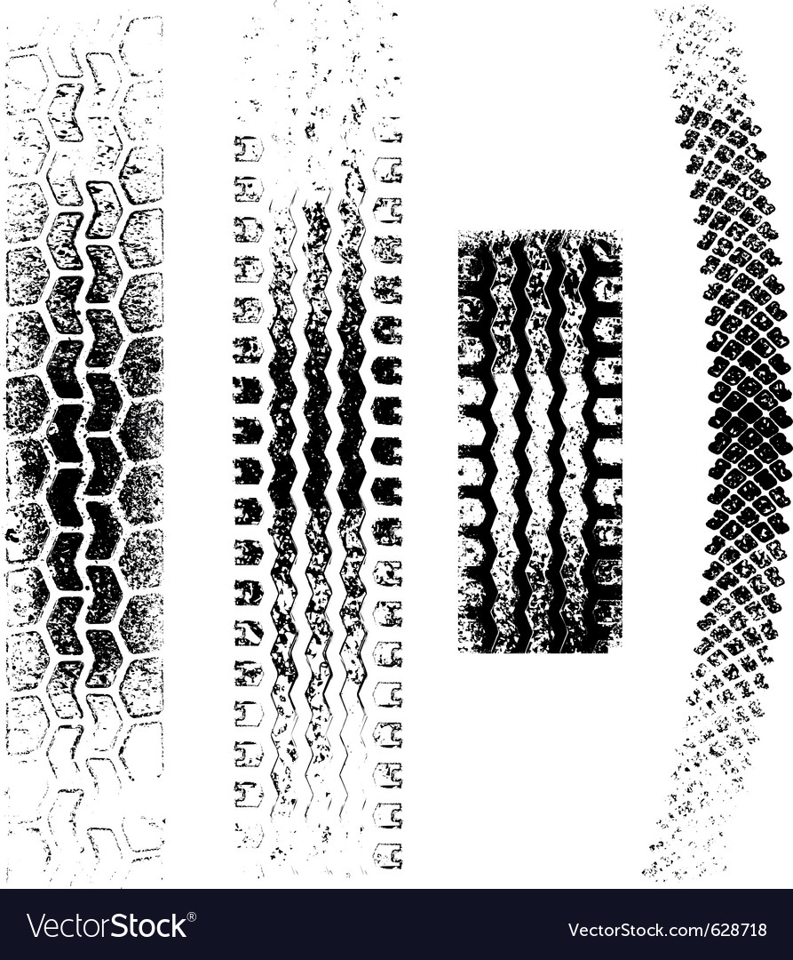 A collection of 4 grunge tire tracks negative and vector