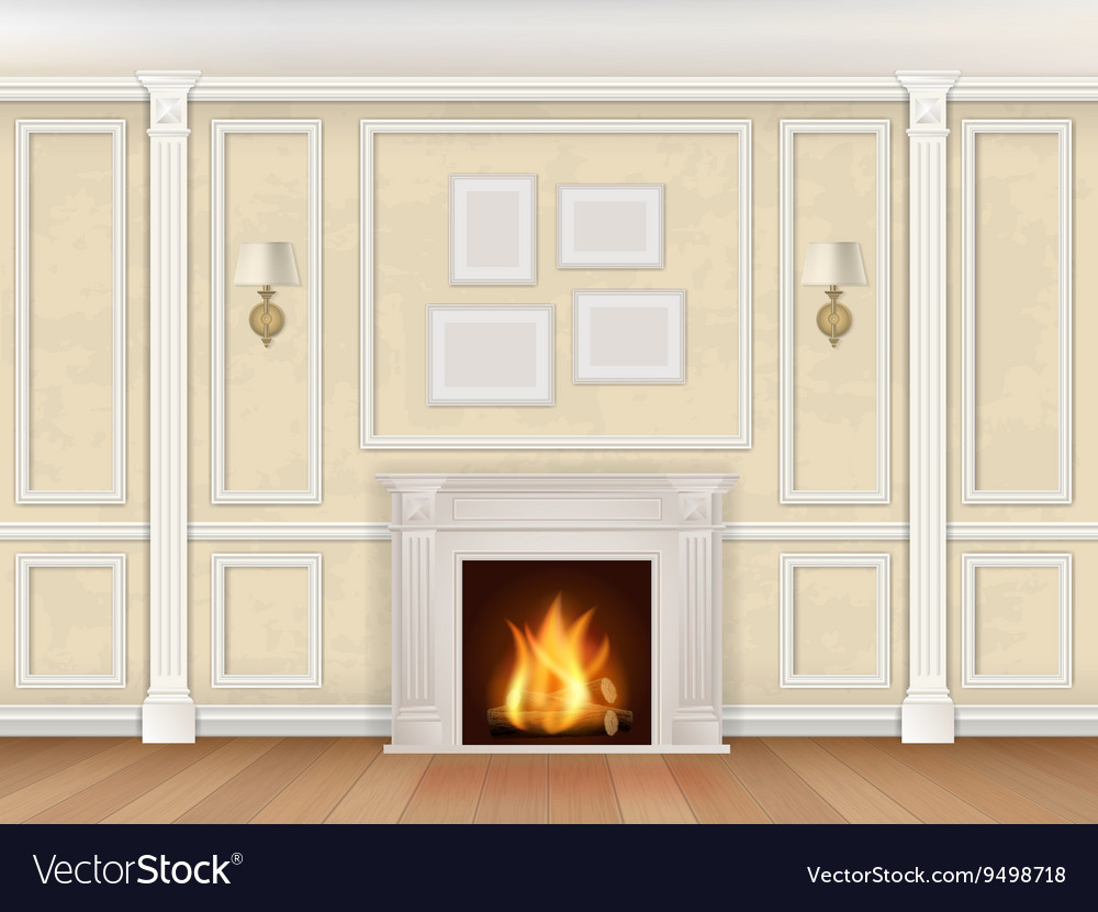 Begue wall with pilasters fireplace and sconces vector
