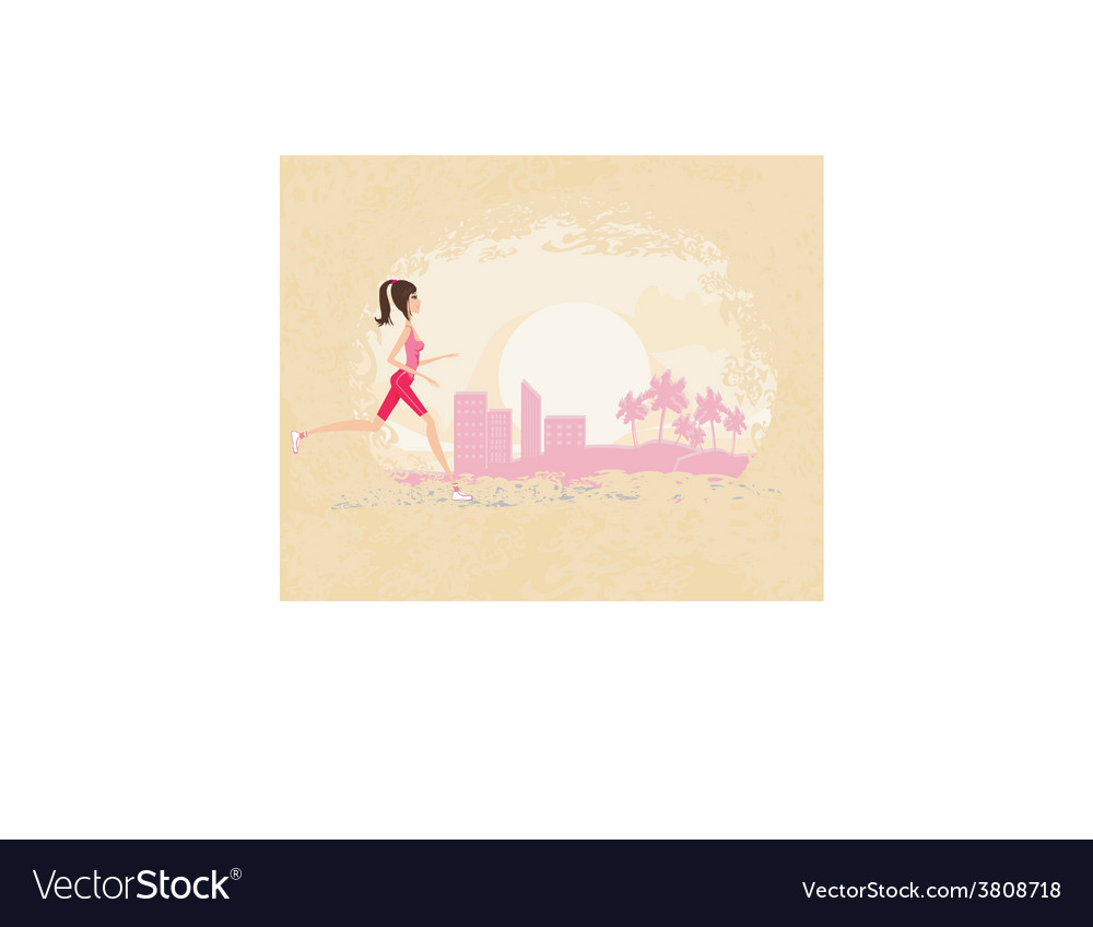 Jogging girl in city  abstract landscape vector