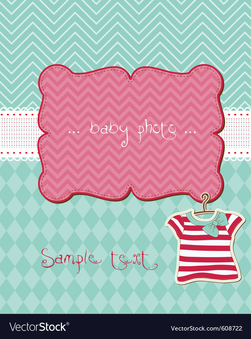 Greeting baby card  with place for your photo and vector