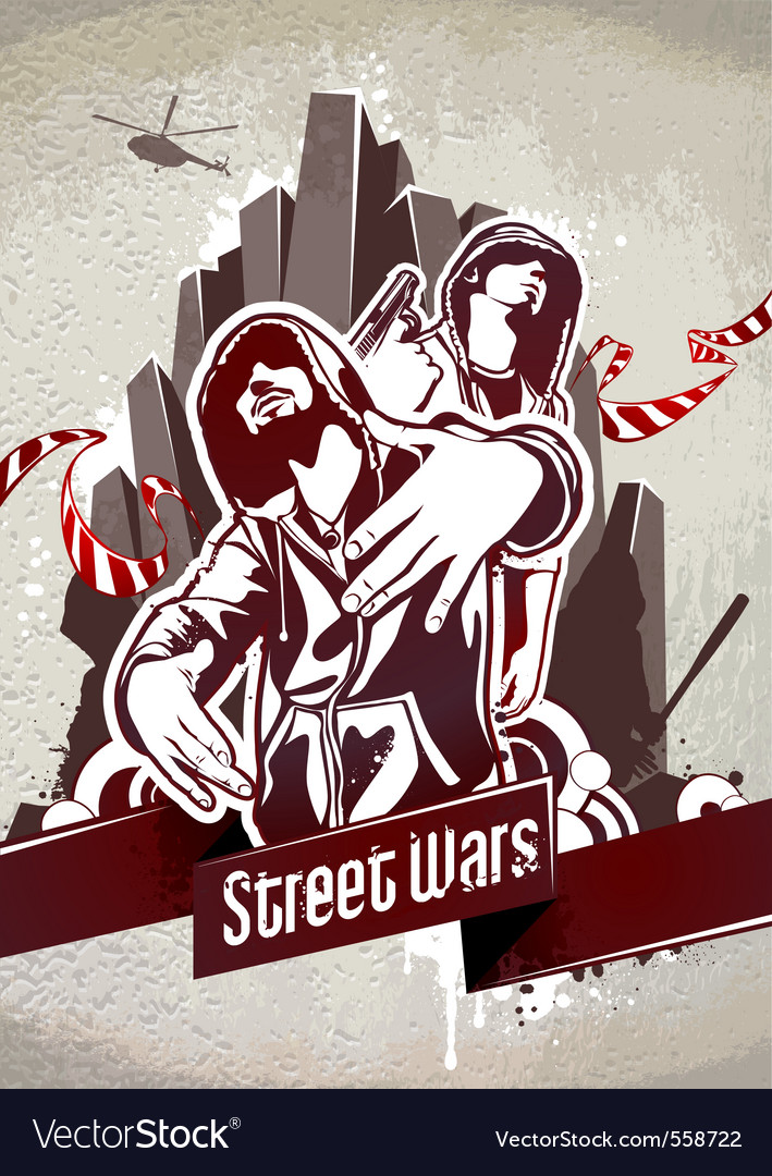 Grungy poster with two gangsters vector