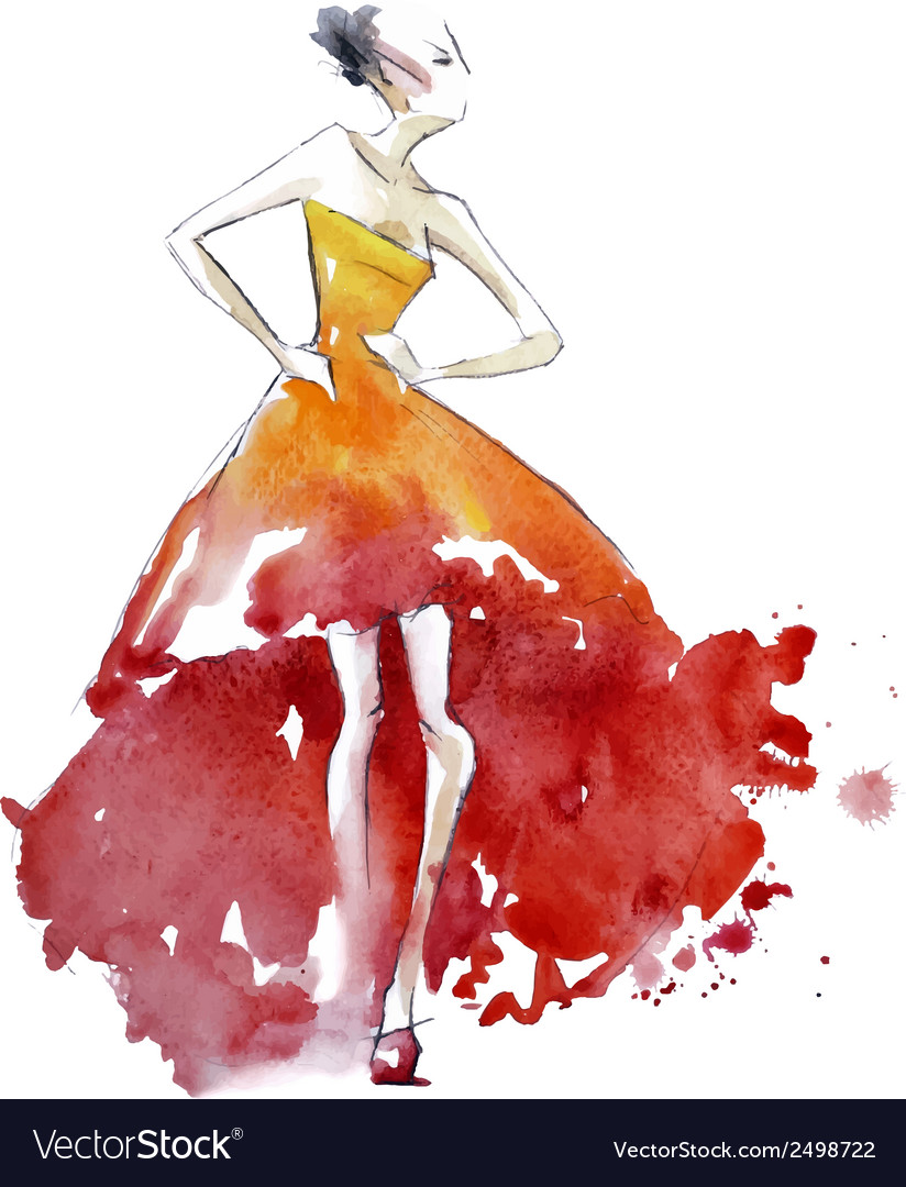 Red dress fashion vector