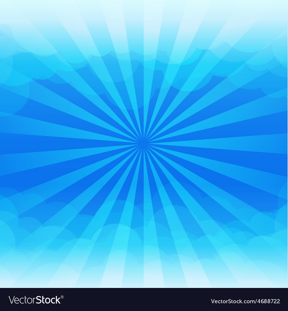 Sunburst and blue sky cloud background vector