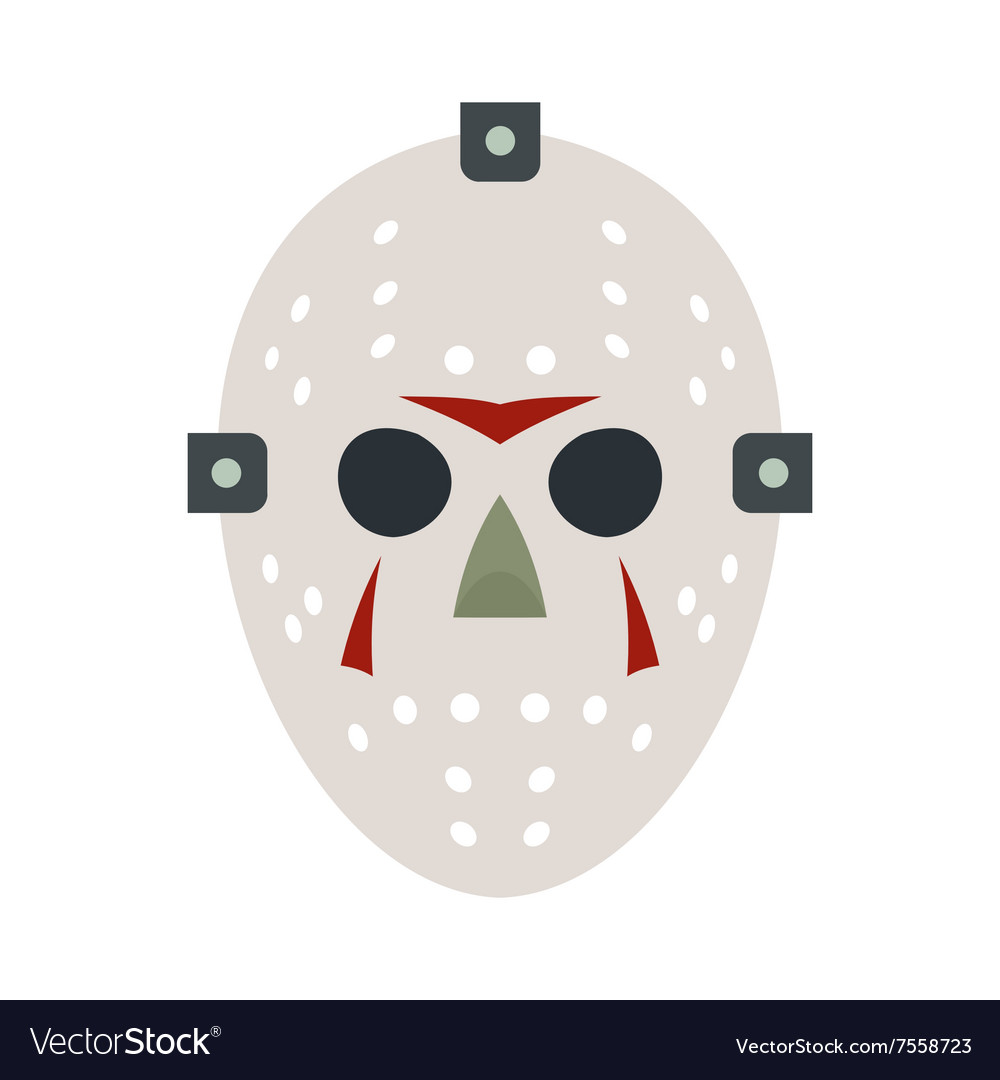 Halloween hockey mask flat icon vector