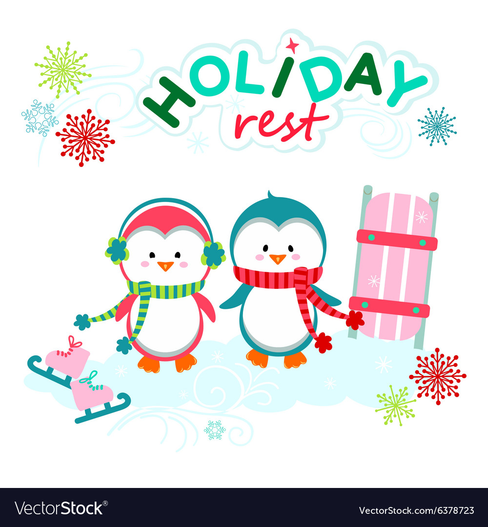 Holiday funny penguins vector