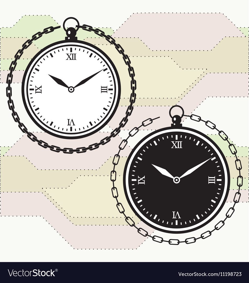 Vintage pocket watch icon template vector