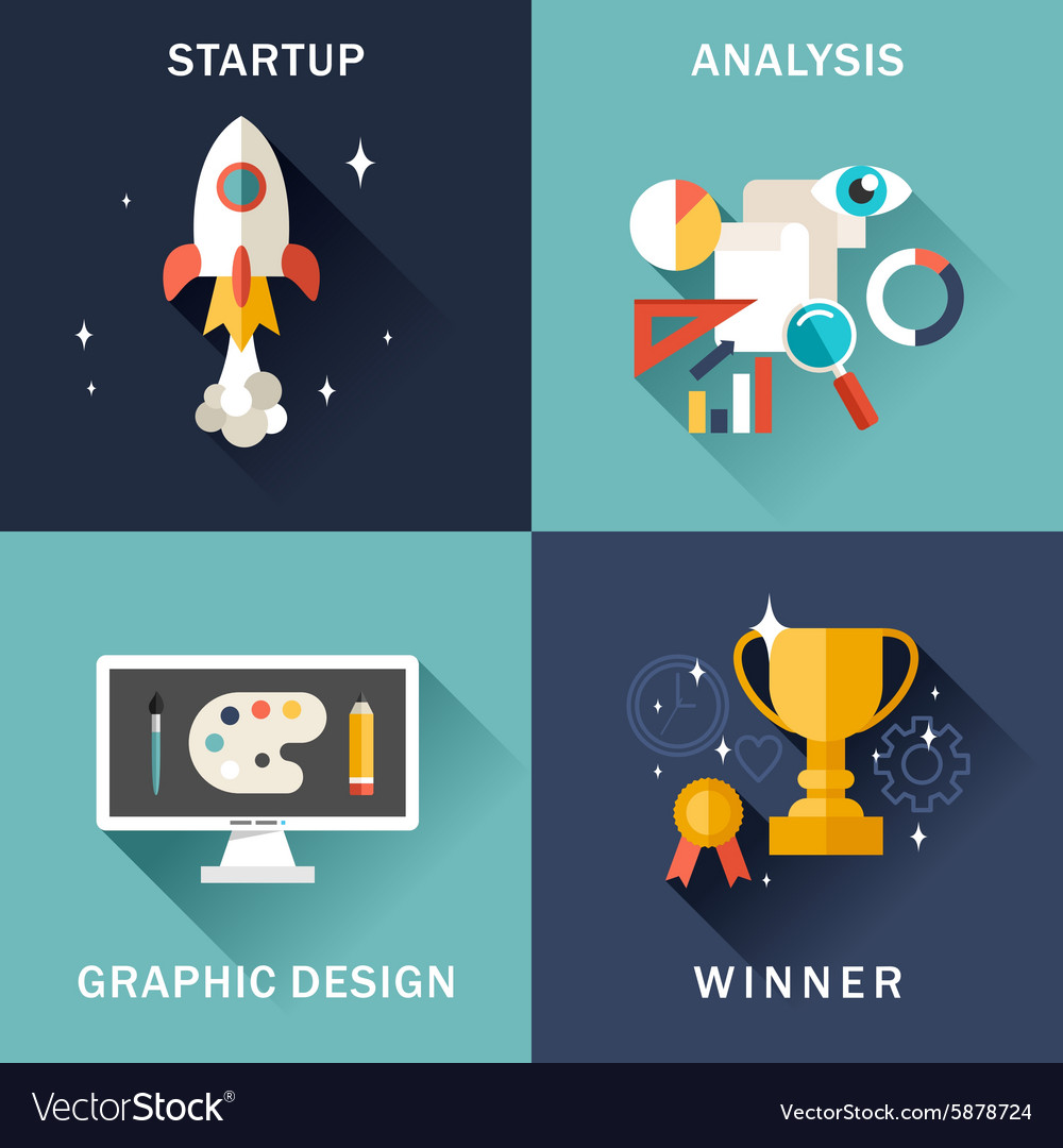 Set of flat business startup analysis graphic vector