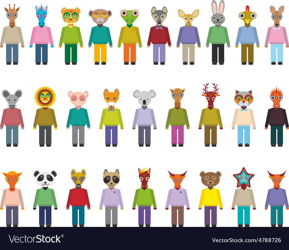 Animals set in trendy flat style zoo vector