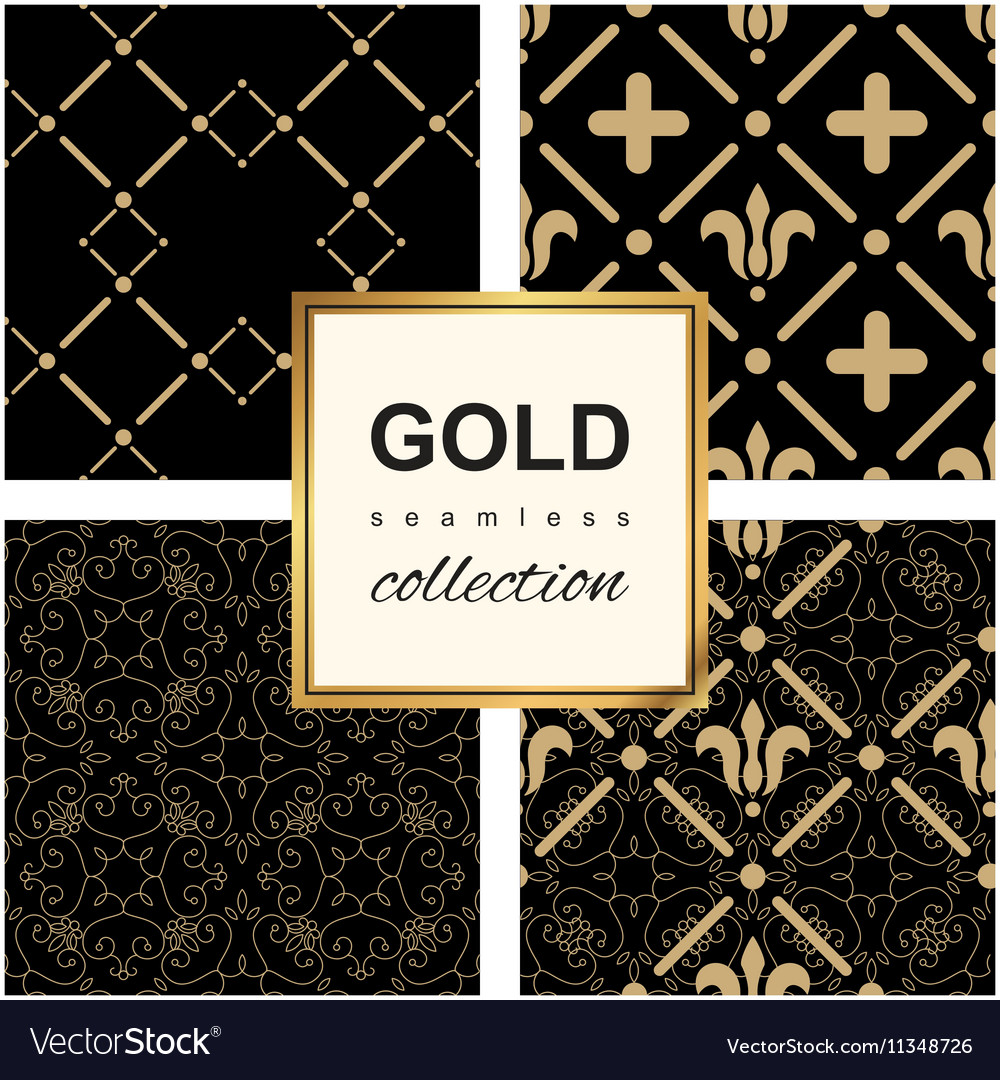 Golden pattern on dark damask background vector