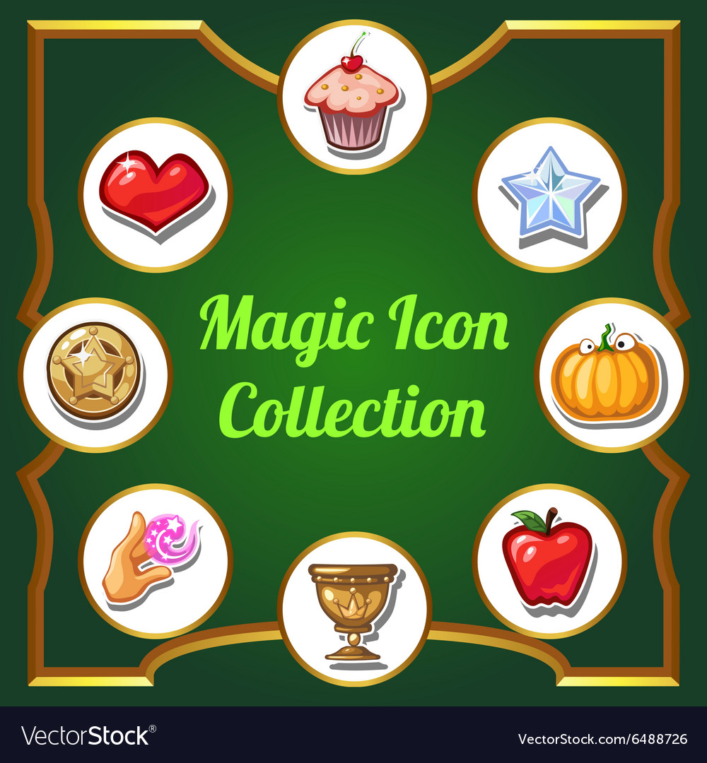 Magic icons set of different images vector