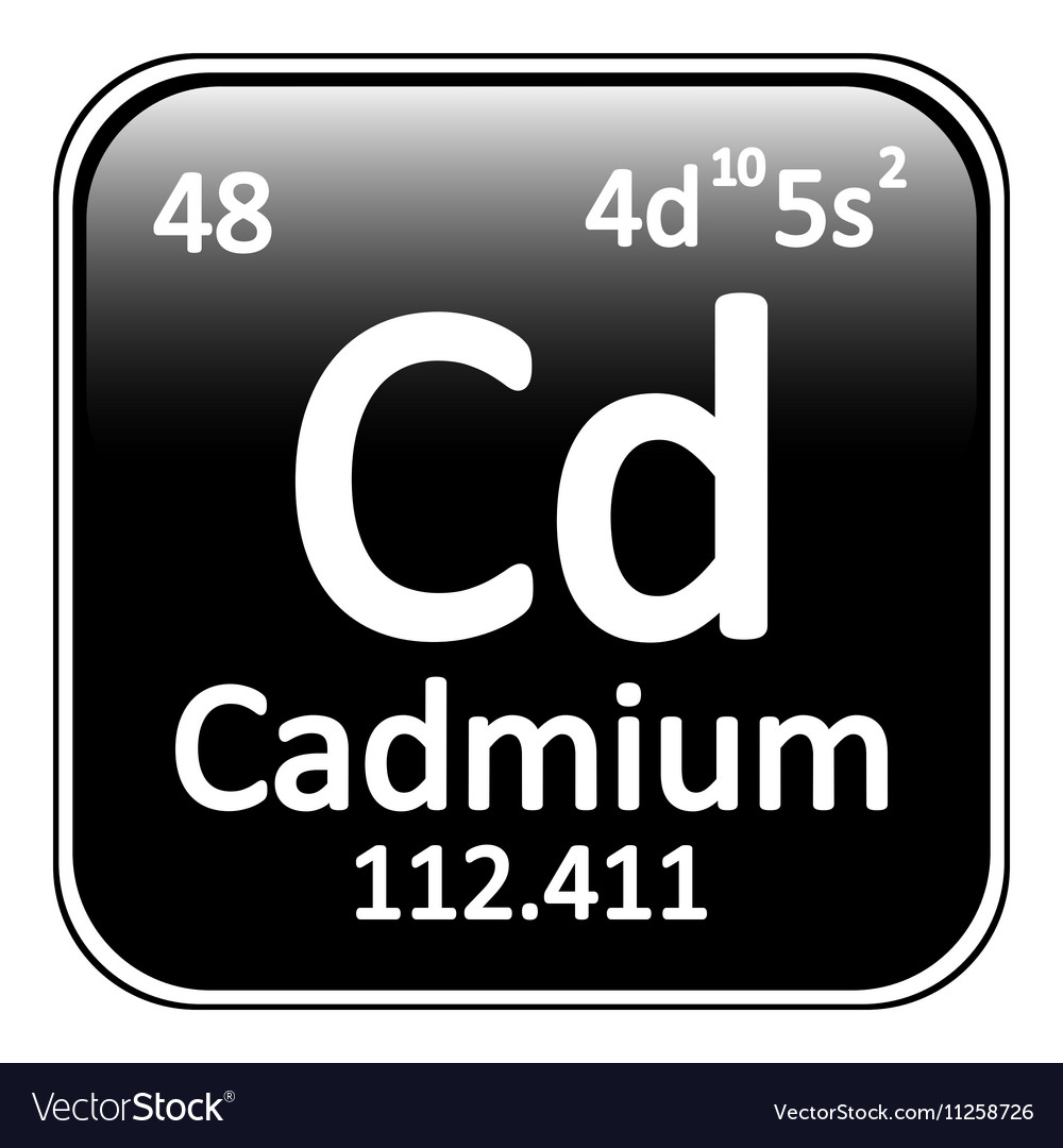 Periodic table element cadmium icon vector