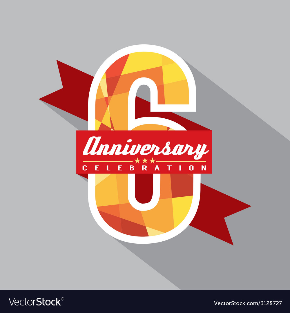 6th years anniversary celebration design vector