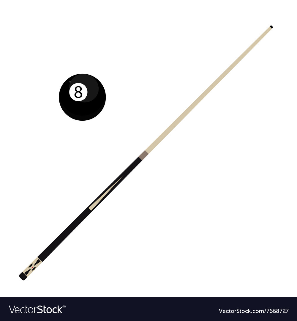 Billiard ball and cue vector
