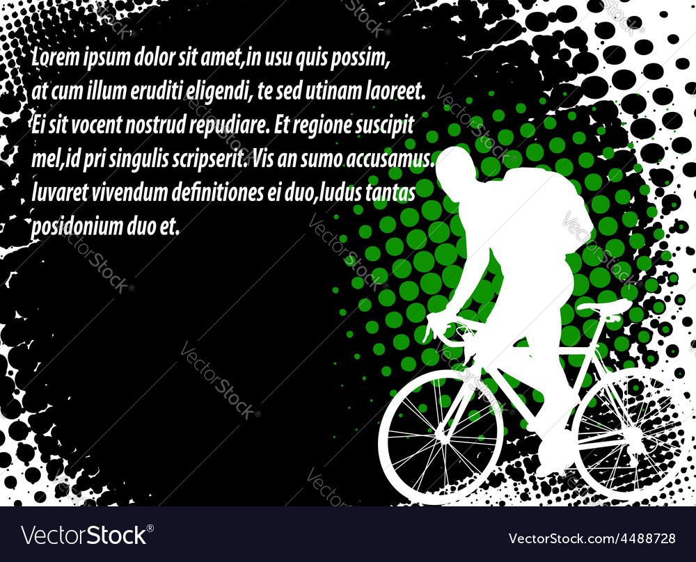 Bicyclist halftone background vector