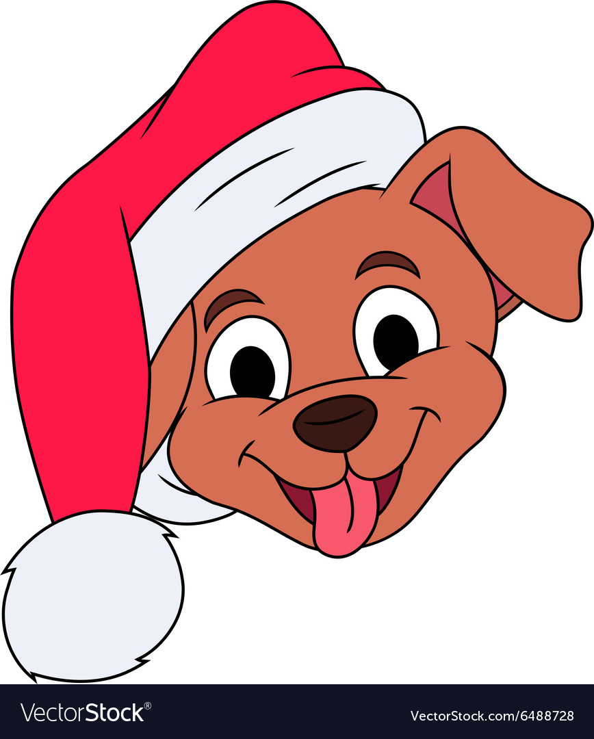 Little puppy with santa hat 3 vector