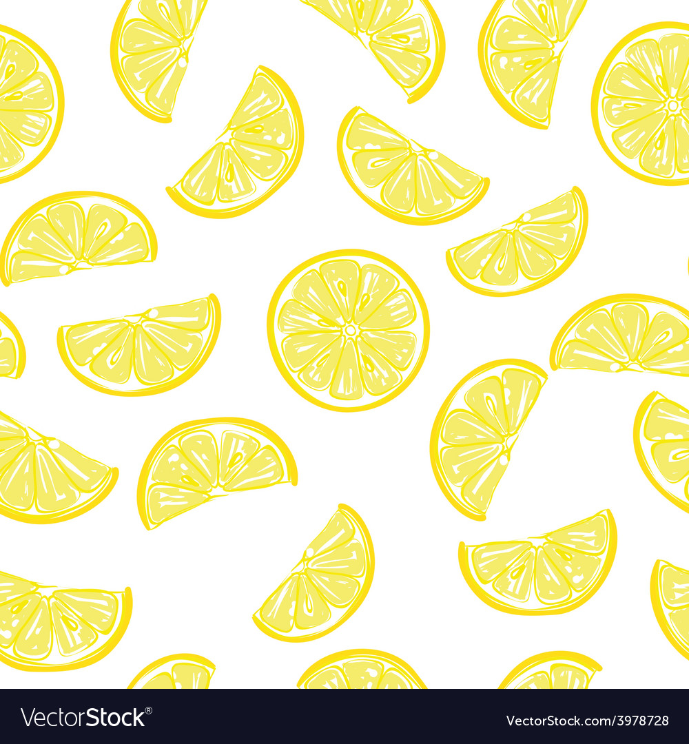 Seamless sliced lemon pattern vector