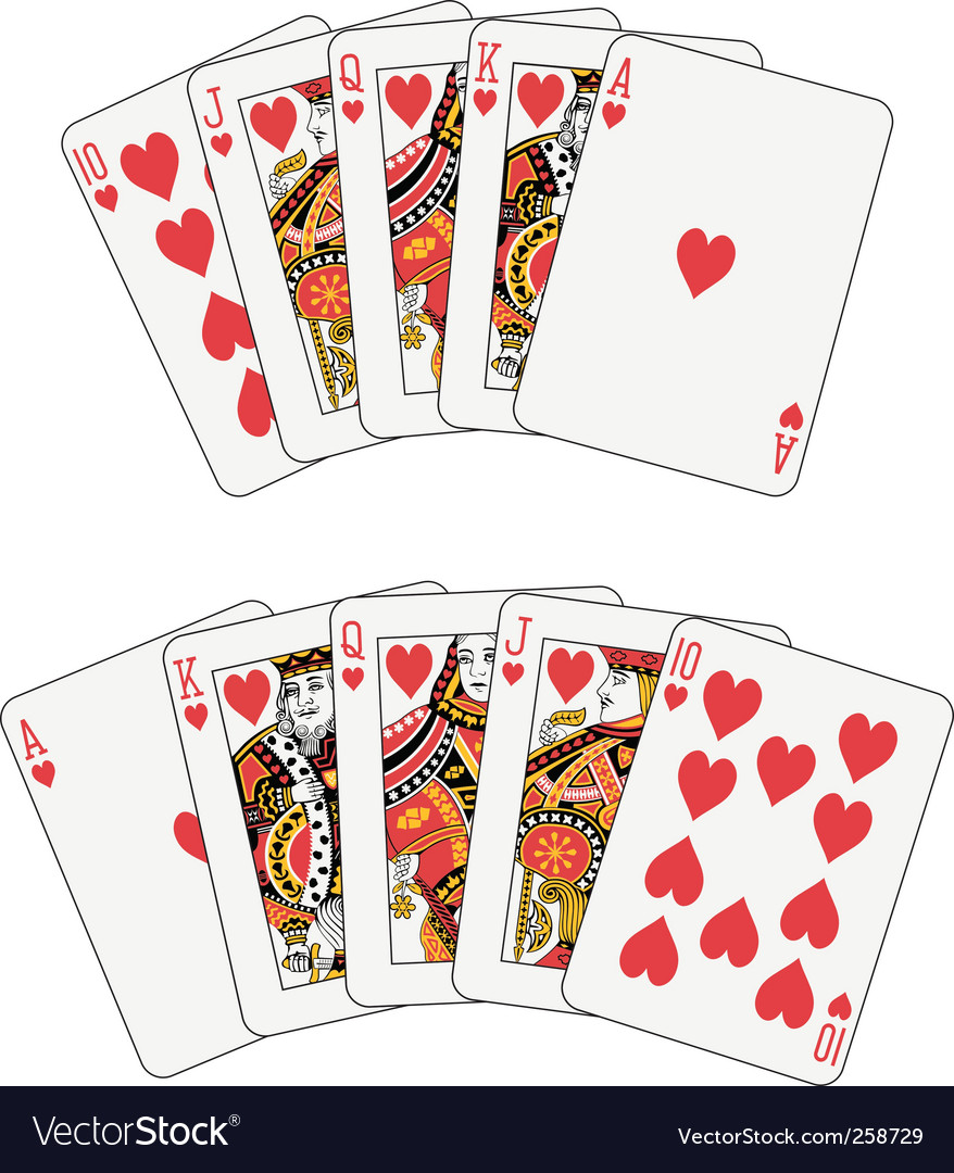 Royal flush heart vector