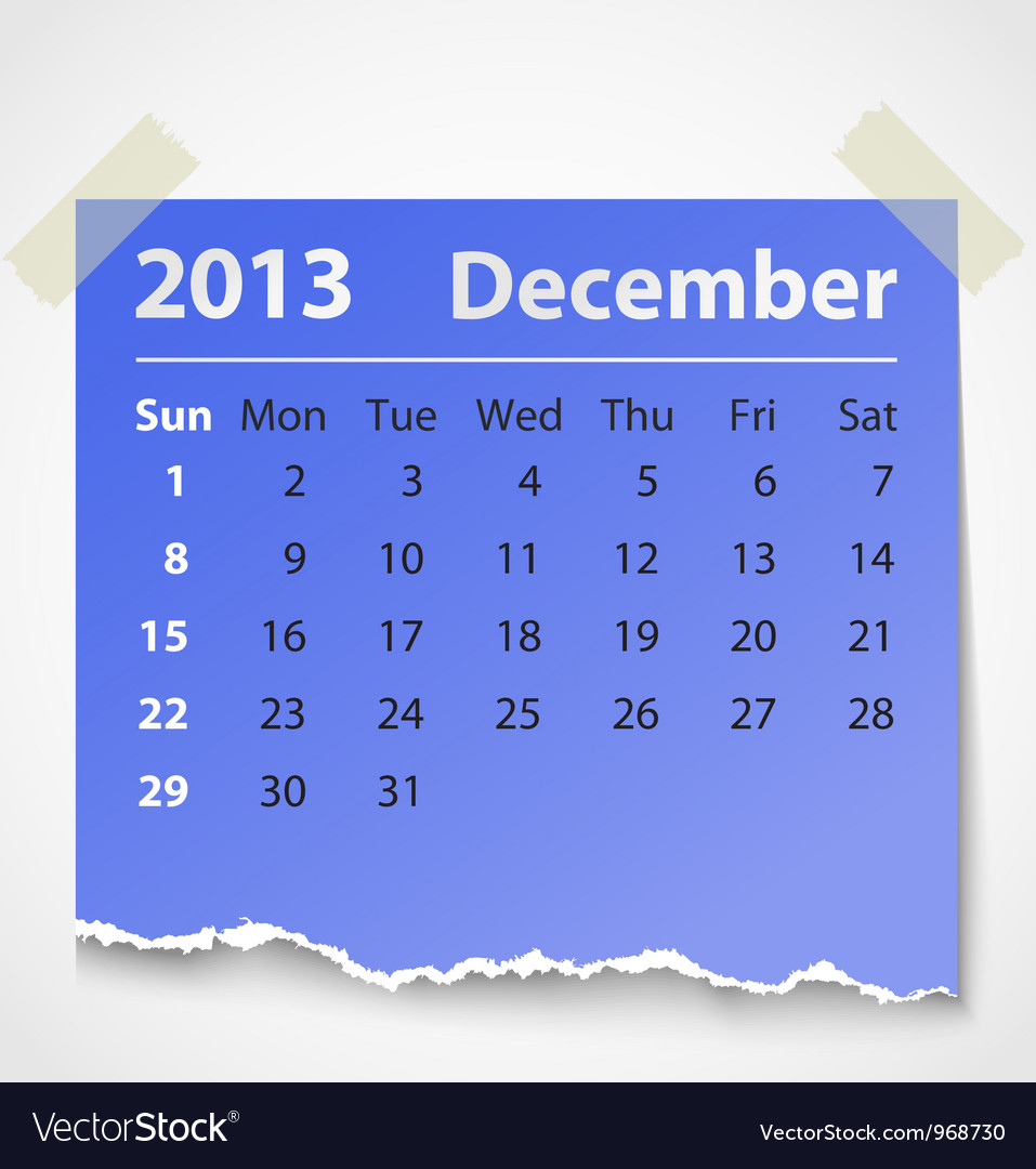 2013 calendar december colorful torn paper vector
