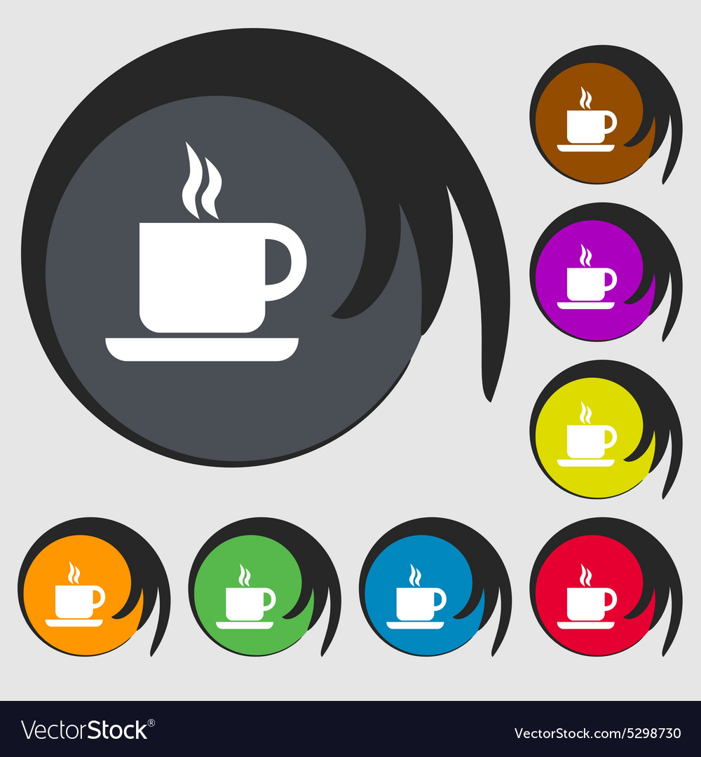 Coffee icon sign symbol on eight colored buttons vector