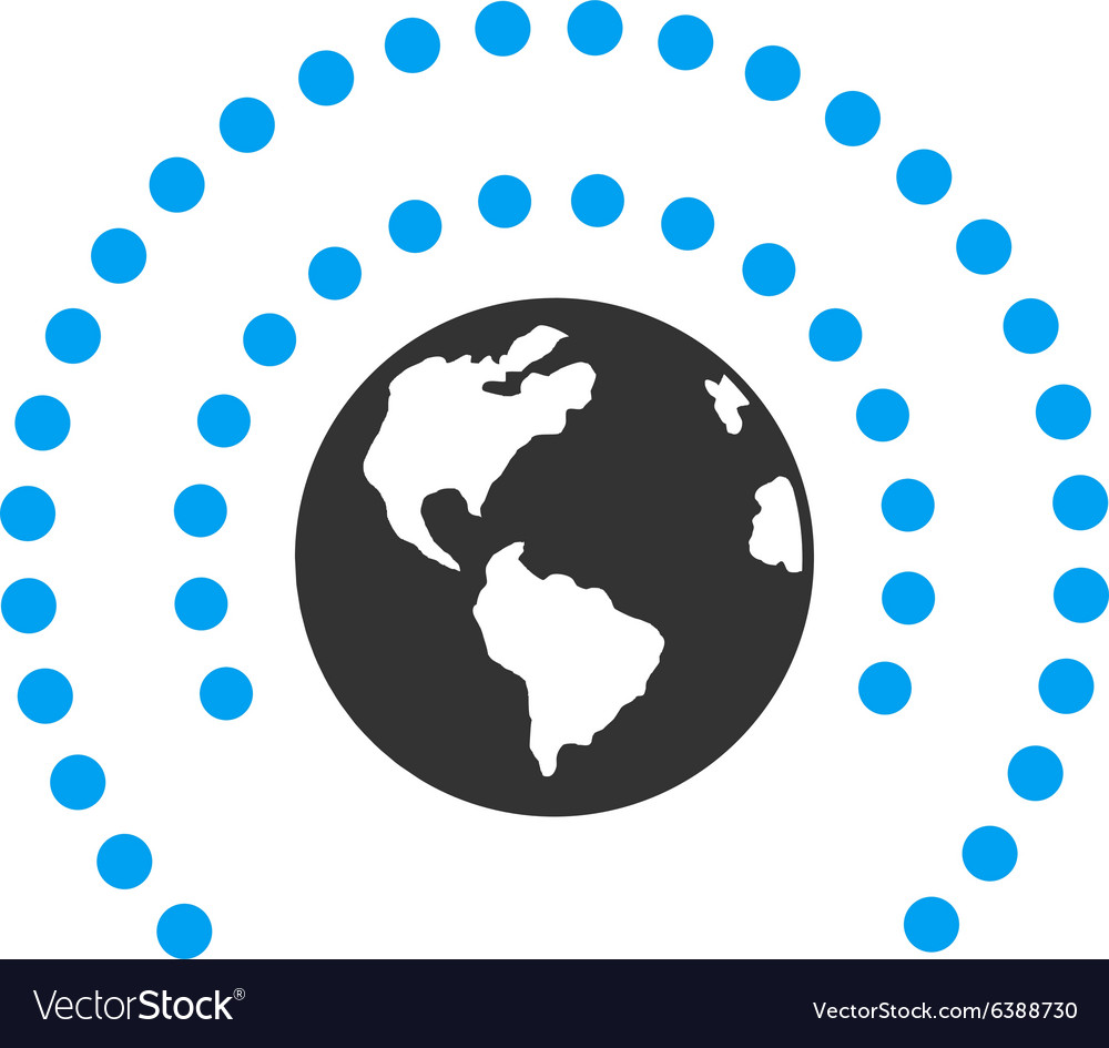 Earth sphere shield icon vector