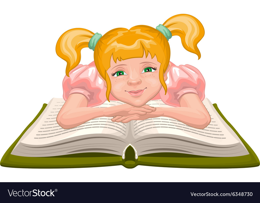Girl reading book child sits in front of an open vector