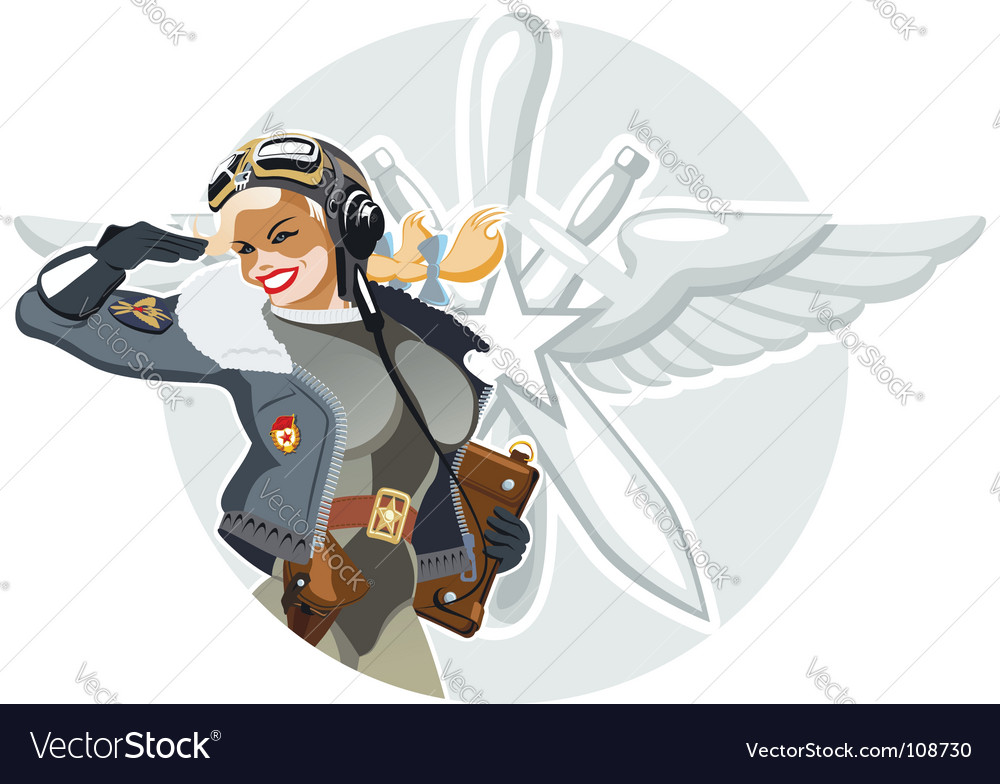 Military retro pinup vector