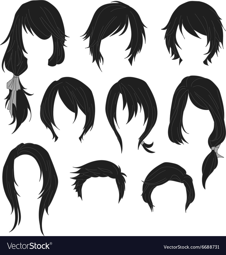 Hair styling for woman drawing black set 1 vector