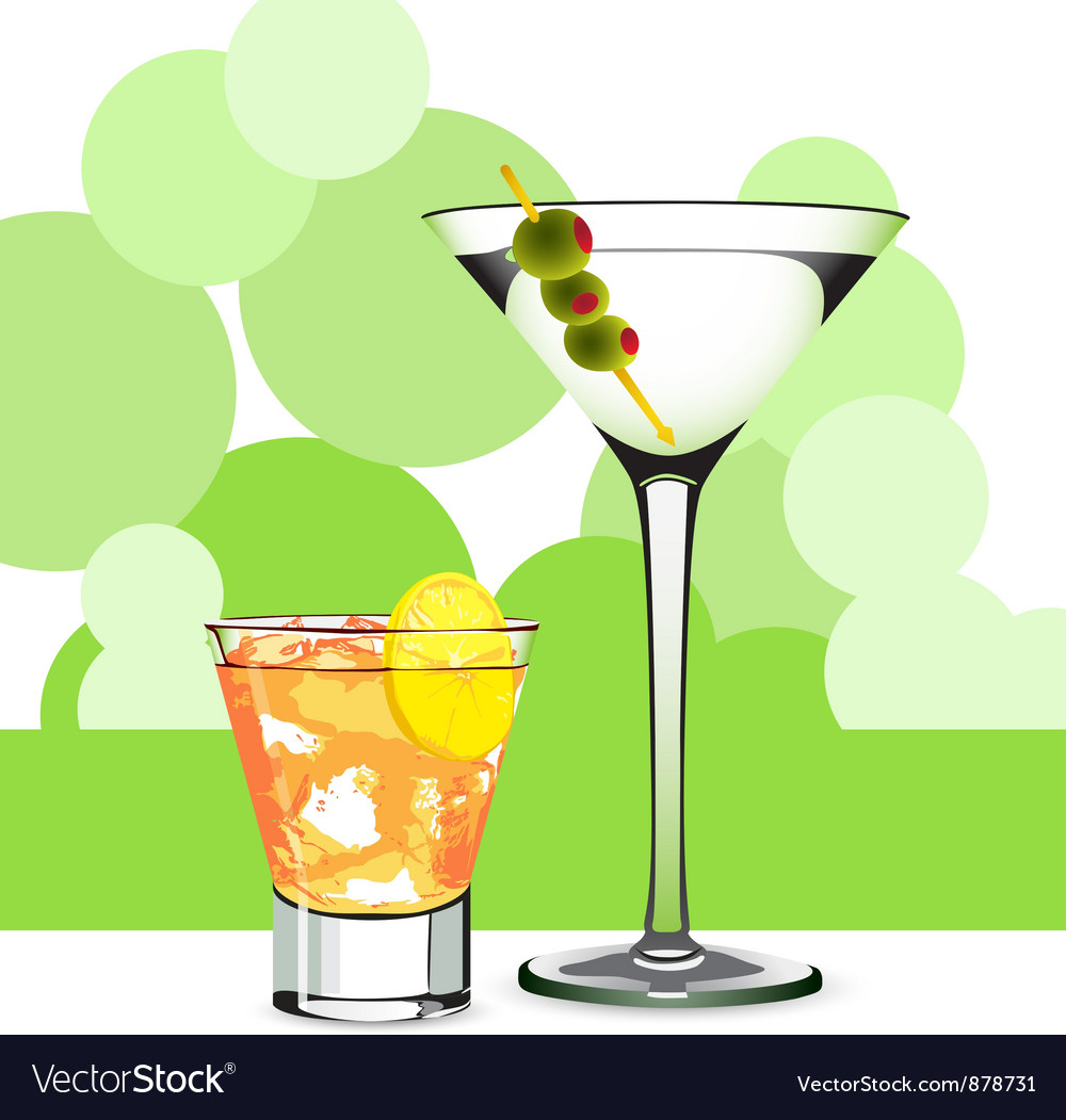 Martini and cocktail vector