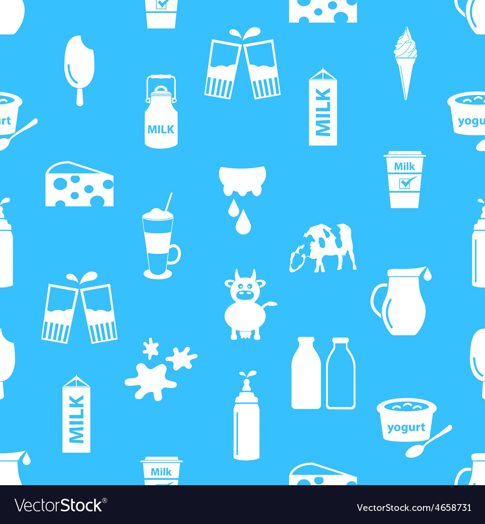 Milk and milk product theme icons seamless pattern vector