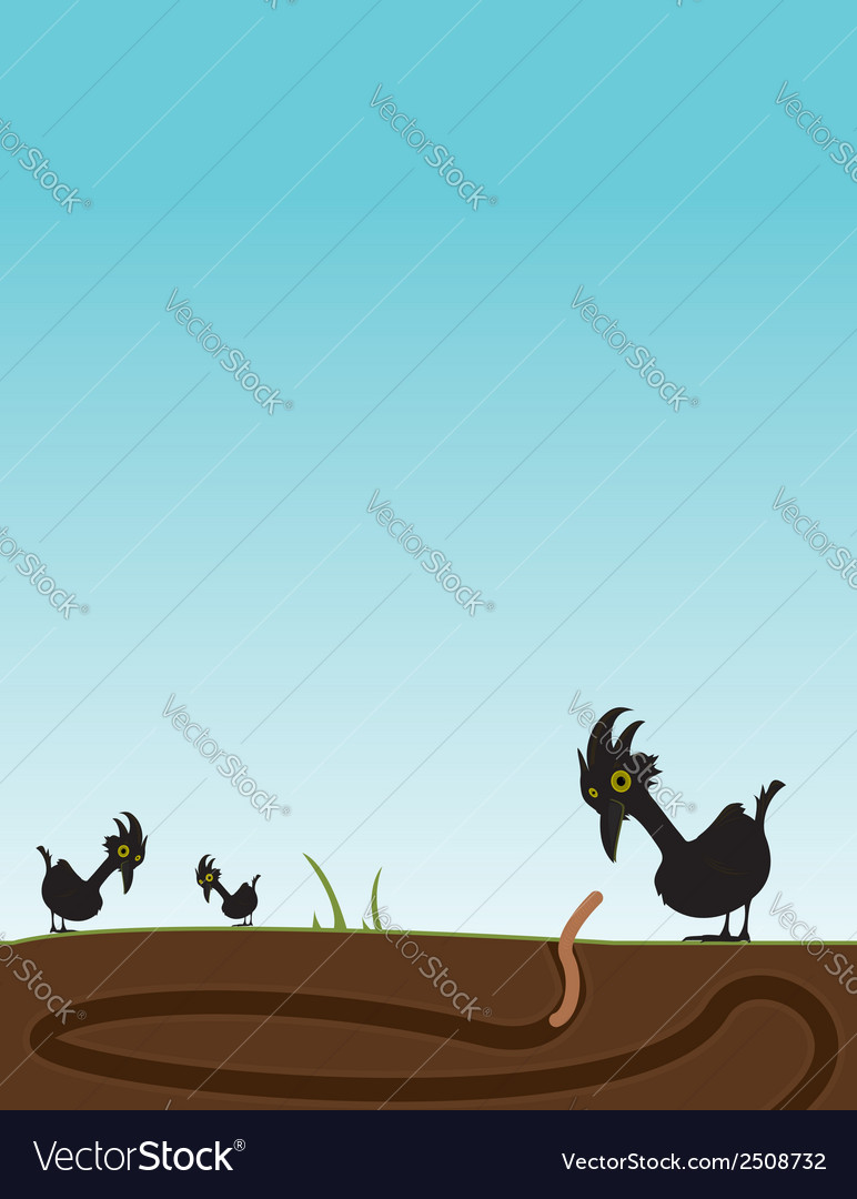 Bird watching worm vector
