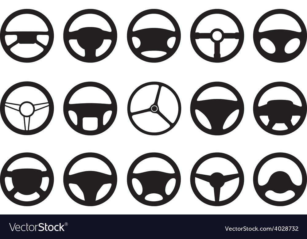 Set of different steering wheels vector