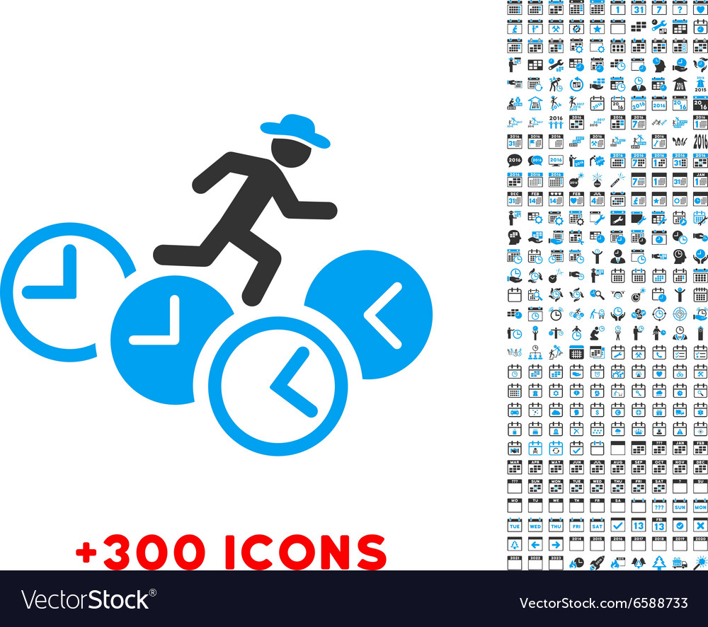 Gentleman running over clocks icon vector
