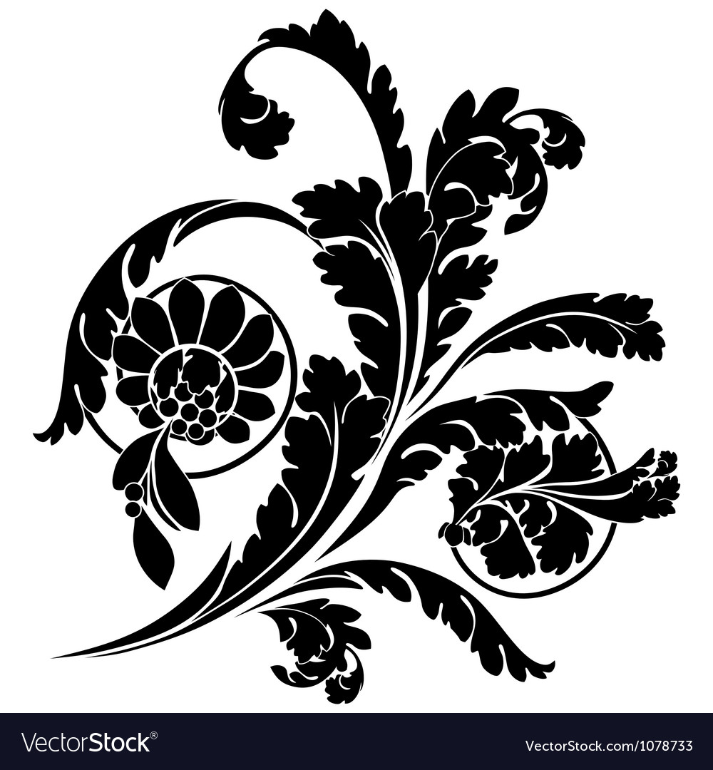 Swirls and flowers vector