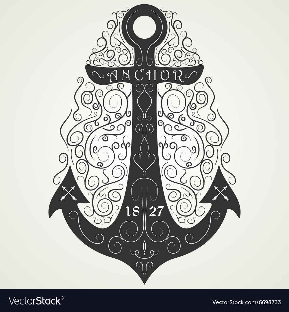 Vintage hand drawn logo flourish anchor vector