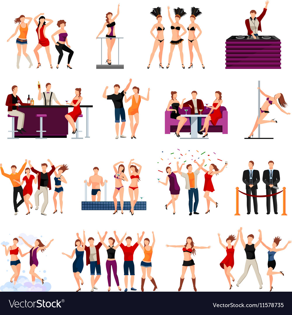 Dancing club people flat icons set vector