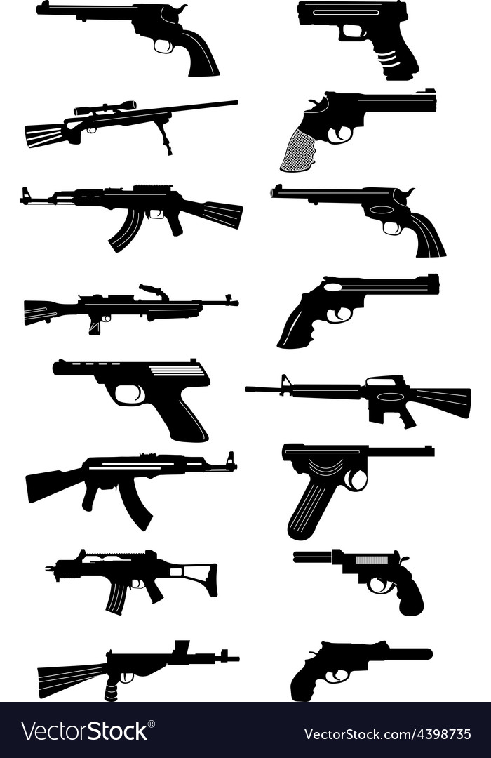 Guns icons set vector